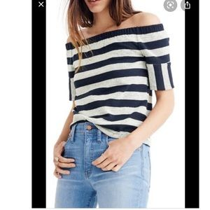 Madewell Striped off the shoulder cotton top